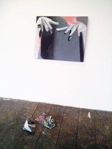 Arise. Oil on wood & folded screen prints.
